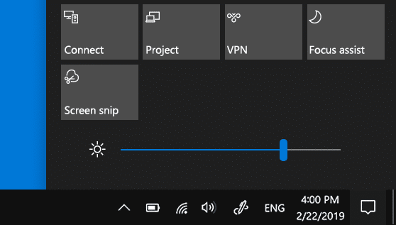 change brightness on windows 10