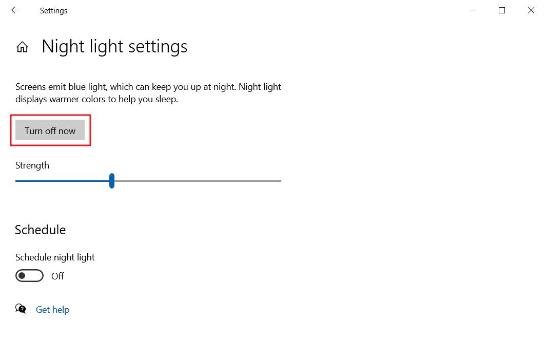 Blue light filter Windows 10